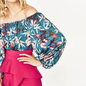 Zara Tropical Floral Bodysuit Off Shoulder Size M